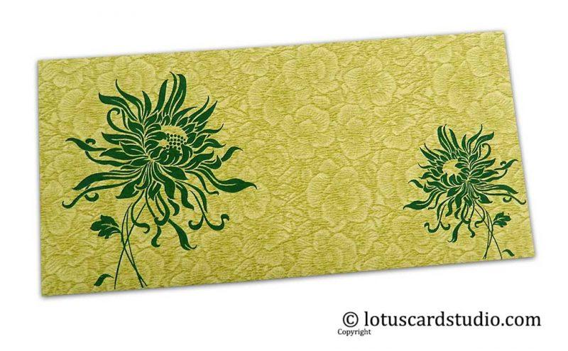 Green Flower Flocked Shagun Envelope with Dark Green Spider Flower
