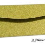 Back view of green flower flocked shagun envelopes