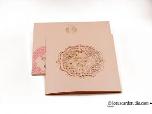 Lasert Cut Wedding Invitation in Peach and Golden Hot Foil