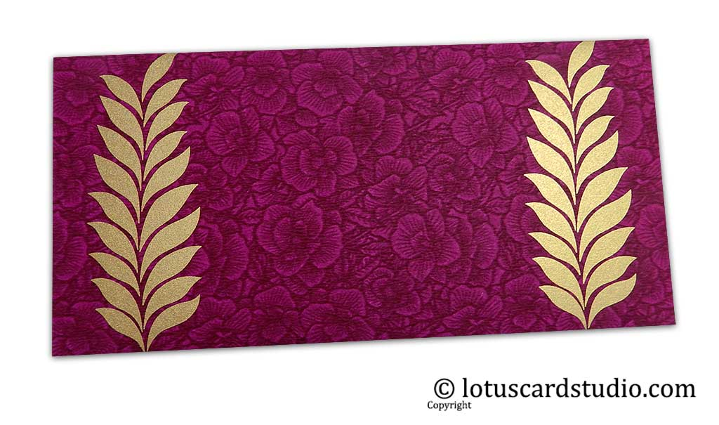 Magenta Flower Flocked Gift Envelope with Golden Ferns