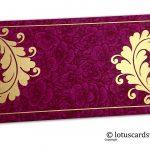 Magenta Flower Flocked Money Envelope with Golden Curly Vine