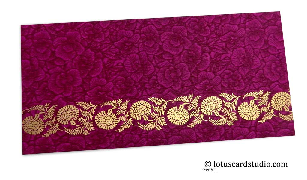 Magenta Flower Flocked Money Envelope with Golden Floral Vine