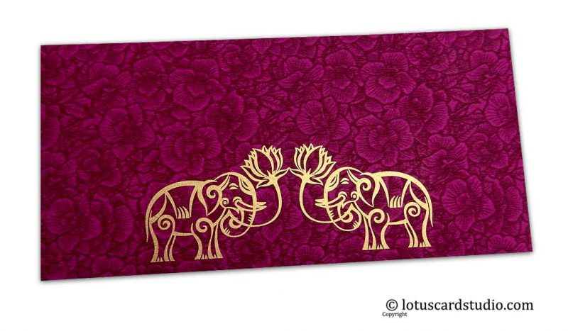 Magenta Flower Flocked Money Envelope with Golden Elephants