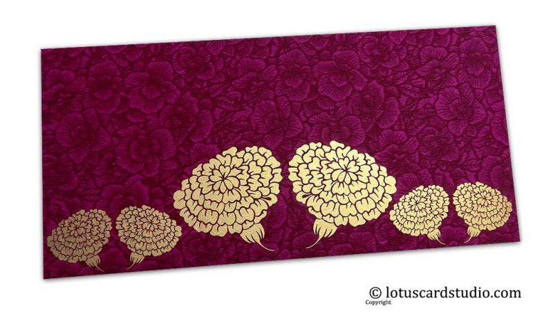 Magenta Flower Flocked Money Envelope with Golden Dahlia Flowers