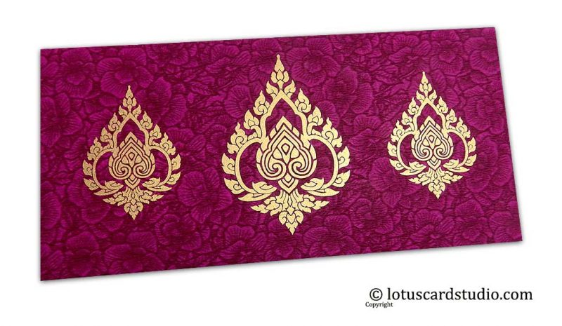 Magenta Flower Flocked Shagun Envelope with Golden Damasks
