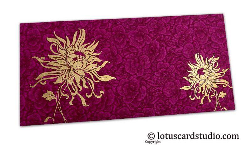Magenta Flower Flocked Shagun Envelope with Golden Spider Flower