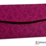 Back view of magenta flower flocked shagun envelopes