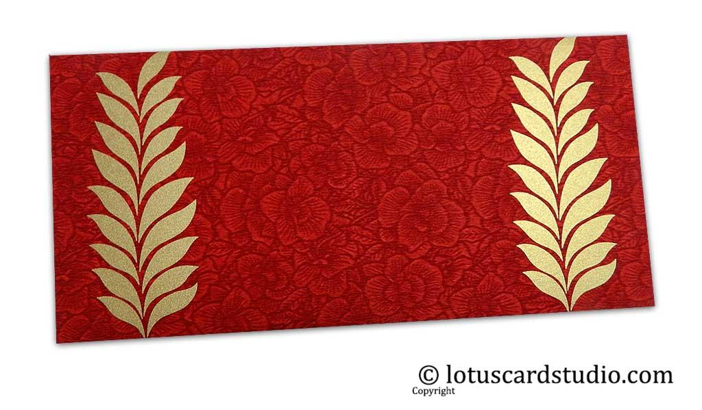 Red Flower Flocked Gift Envelope with Golden Ferns