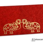 Red Flower Flocked Money Envelope with Golden Elephants