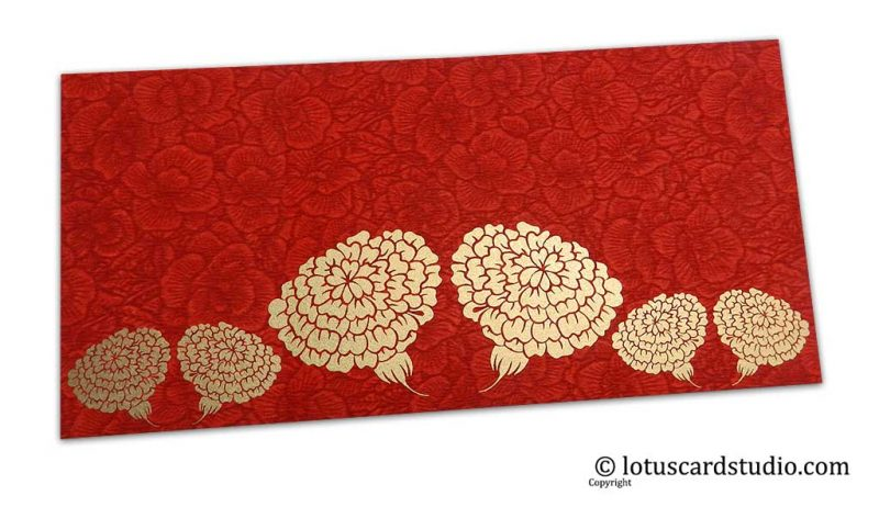 Red Flower Flocked Money Envelope with Golden Dahlia Flowers
