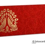 Red Flower Flocked Shagun Envelope with Golden Peacocks