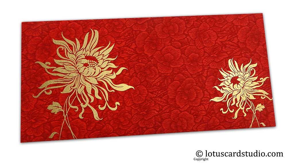Red Flower Flocked Shagun Envelope with Golden Spider Flower