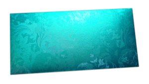 Cyan Shimmer Multi Floral Shagun Envelope