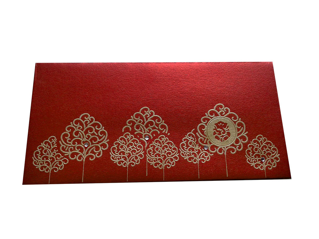 Ganpati and Trees Designer Shagun Envelope in Royal Red