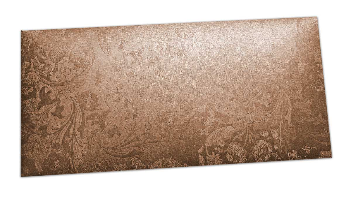 Brown Shimmer Multi Floral Shagun Envelope