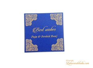 Gift Tag in Blue with Golden Floral Borders