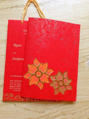 Cherish Red Floral Theme Wedding Card