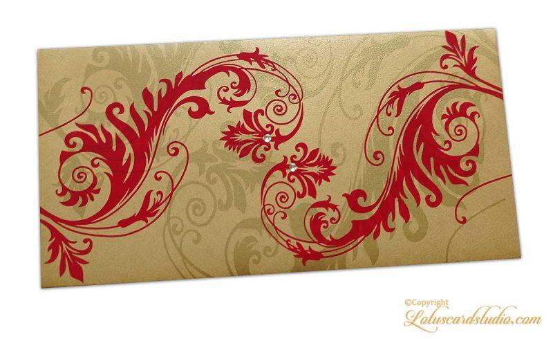 Elegant Designer Envelope in Pure Gold with Red Floral