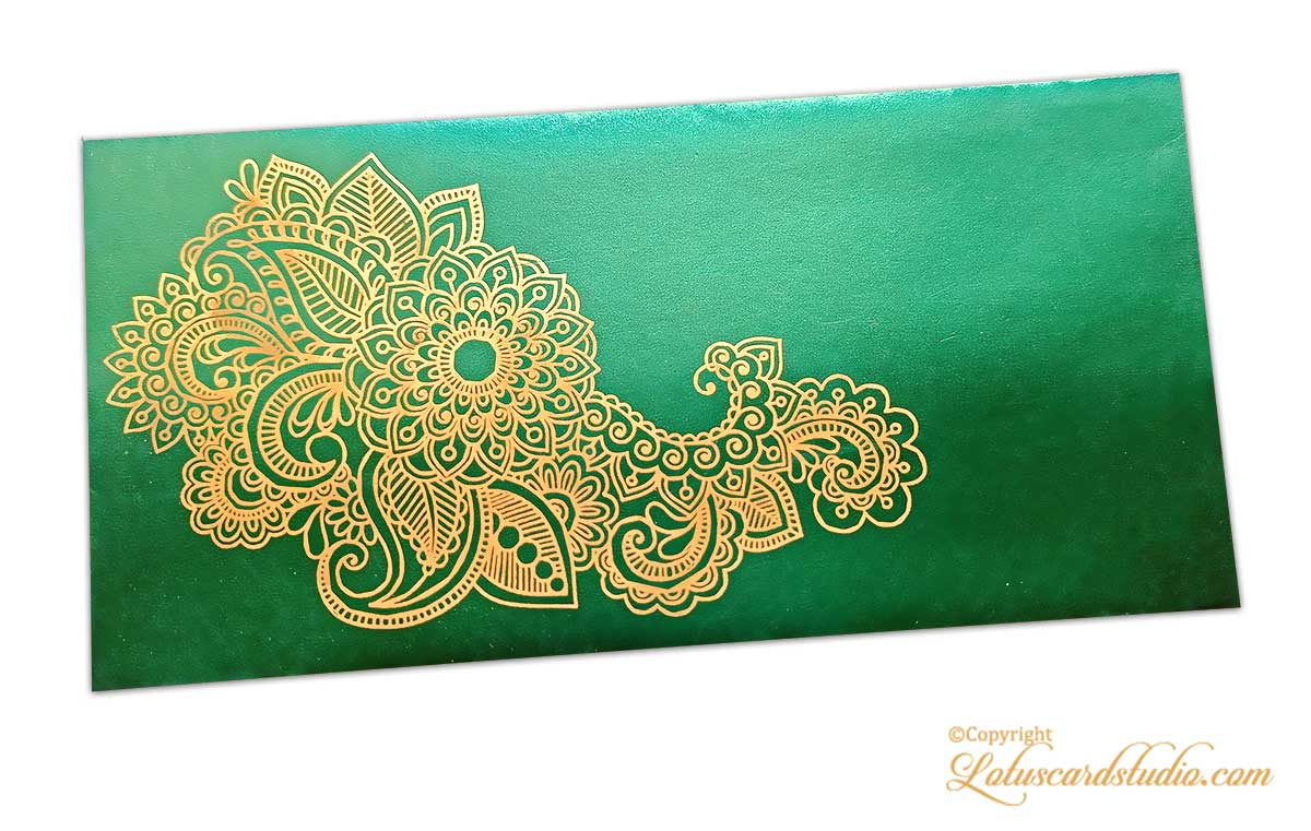 Emerald Green Gift Envelope with Golden Floral