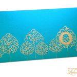 Ganpati and Trees Designer Shagun Envelope in Cyan
