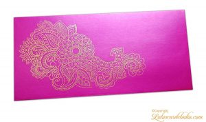 Mexican Pink Gift Envelope with Golden Floral