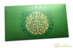 Exclusive Sized Golden Crown Flower Money Gift Envelope in Emerald Green