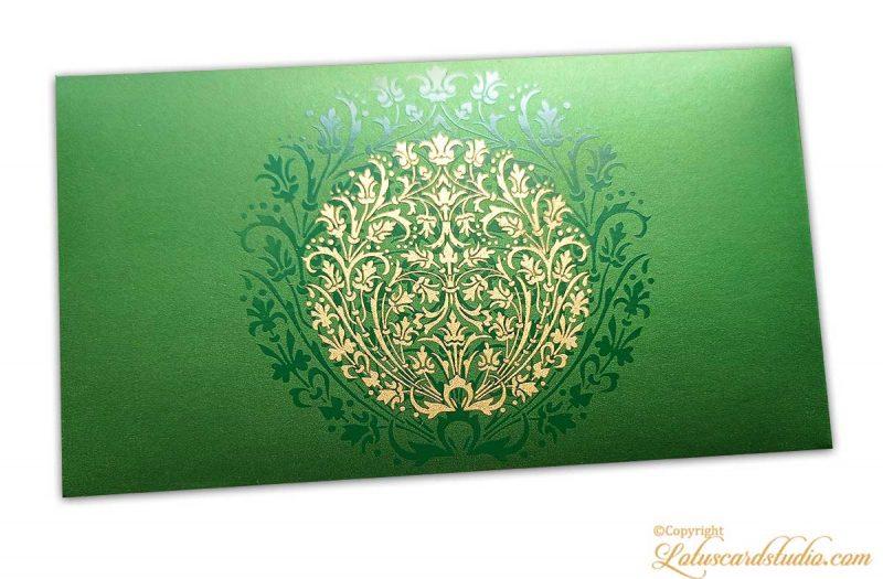 Exclusive Sized Golden Crown Flower Money Gift Envelope in Emerald Green