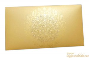 Exclusive Sized Golden Crown Flower Money Gift Envelope in Pure Gold