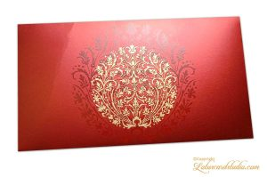 Exclusive Sized Golden Crown Flower Money Gift Envelope in Royal Red