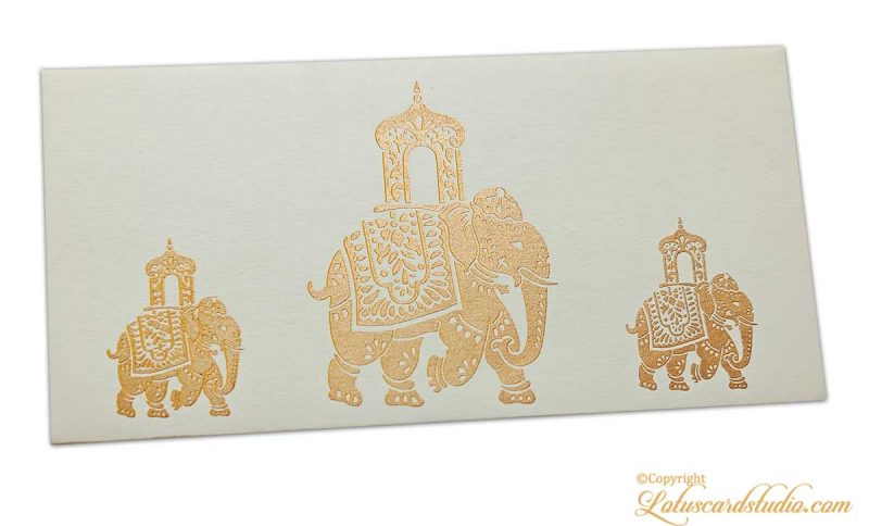 Elephant Shagun Envelope in Ivory