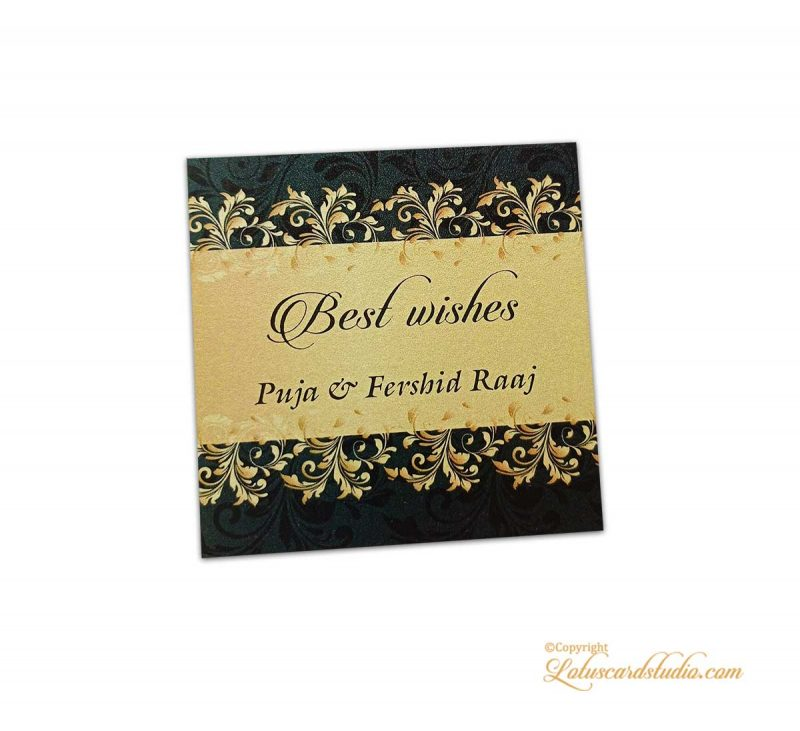Golden and Black Floral Gift Tag