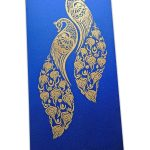 Shagun Envelope with Golden Peacocks on Imperial Blue Background