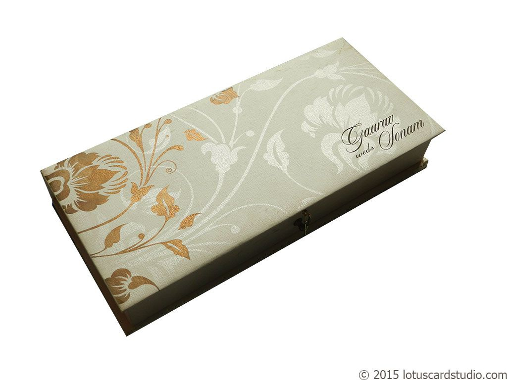 Indian Wedding Card In Royal Ivory Golden Theme Box