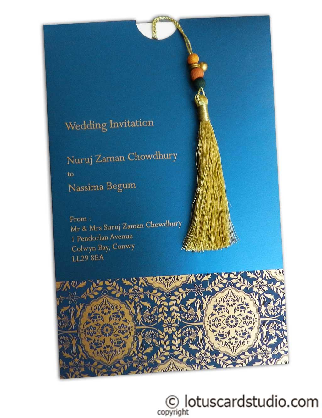 Magnificent Majestic Blue Invitation Card With Dori Ic 28