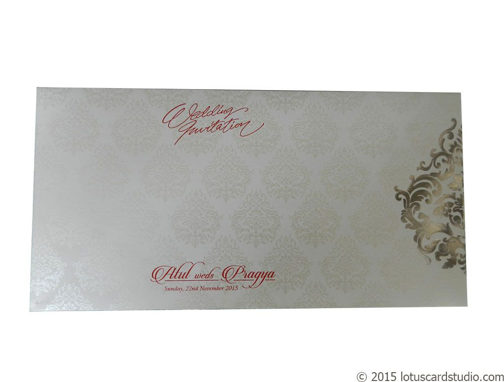 White And Blue Theme Wedding Card