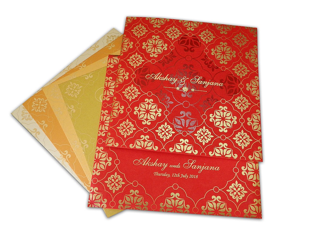 Bright Red Wedding Invitation with Golden Flowers