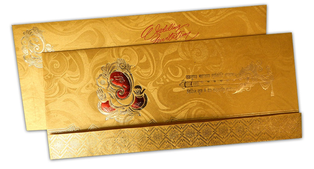 Gold Rich Wedding Card With Ganesh