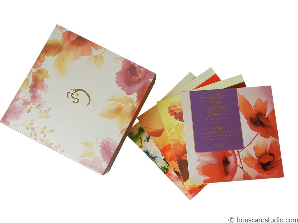 Golden Pink Boxed Wedding Invitation Card Wc 97