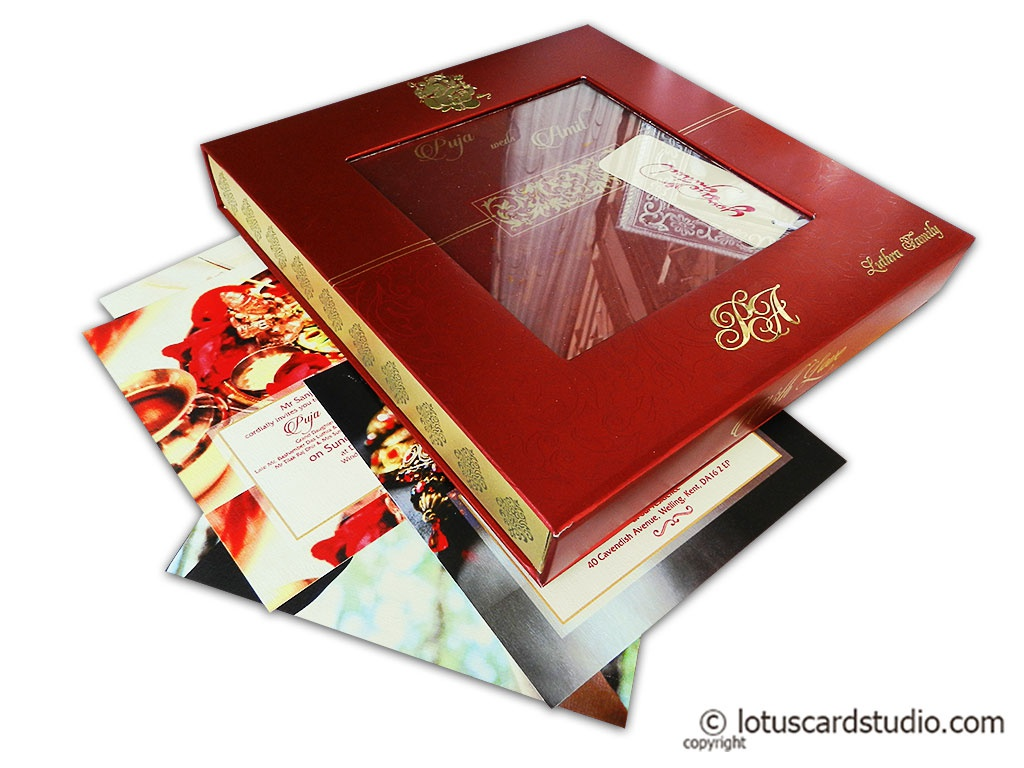 Magnificent Boxed Wedding Invitation in Red and Golden Theme