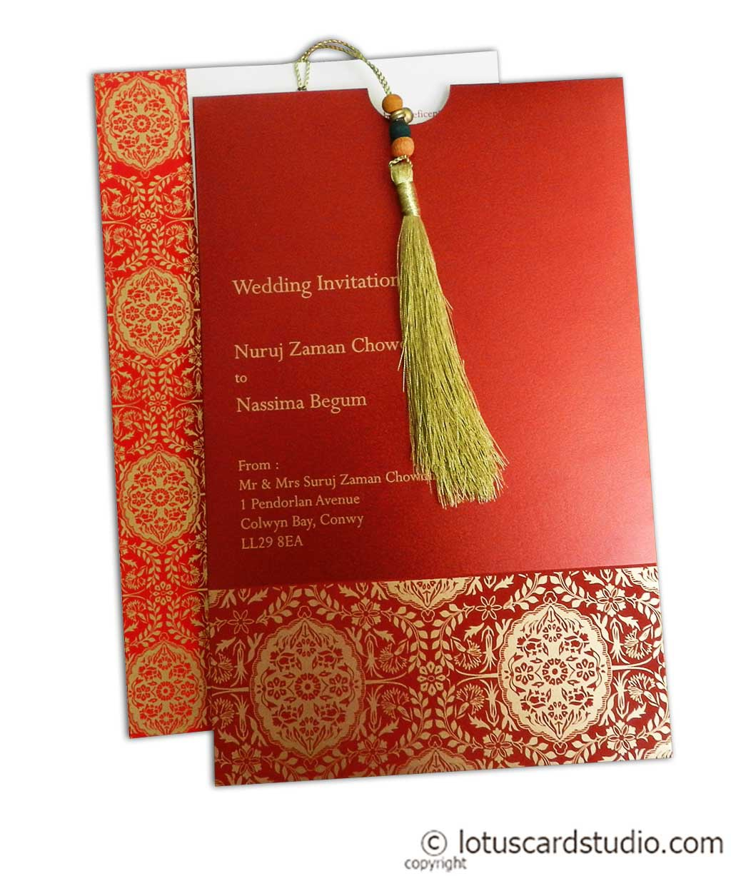 Magnificent Royal Red Wedding Card with Dori
