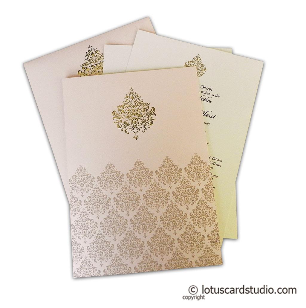 Hot Foil Embossed Design Wedding Invitation Card