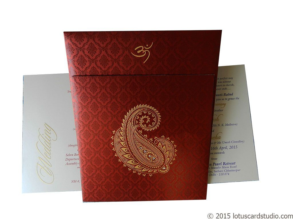 Beautiful Paisley Theme Royal Red Wedding Card