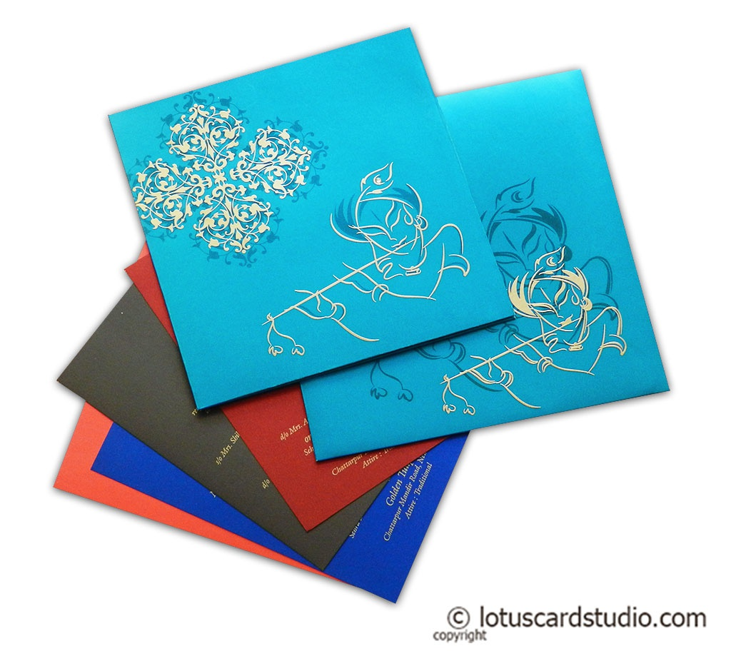 Teal Wedding Invitation with Lord Krishna and his Flute