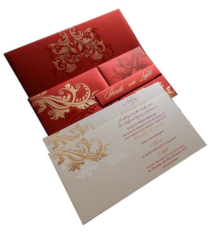 Red Wedding Card With Golden Flower Design Wc 83