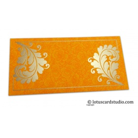 Amber Yellow Flower Flocked Money Envelope with Golden Curly Vine