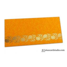Amber Yellow Flower Flocked Money Envelope with Golden Floral Vine