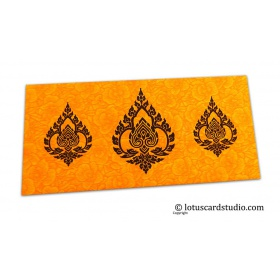 Amber Yellow Flower Flocked Shagun Envelope with Brown Damasks