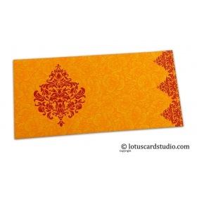 Amber Yellow Flower Flocked Shagun Envelope with Red Victorian Floral