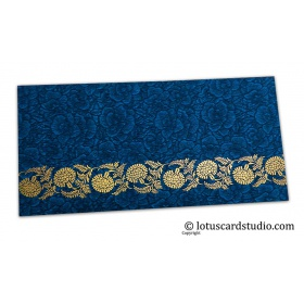 Blue Flower Flocked Money Envelope with Golden Floral Vine