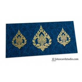 Blue Flower Flocked Shagun Envelope with Golden Damasks